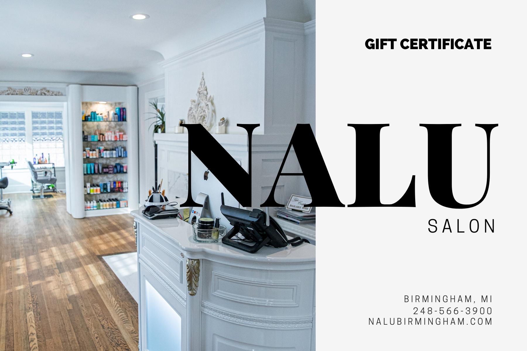 nalu salon birmingham gift certificate